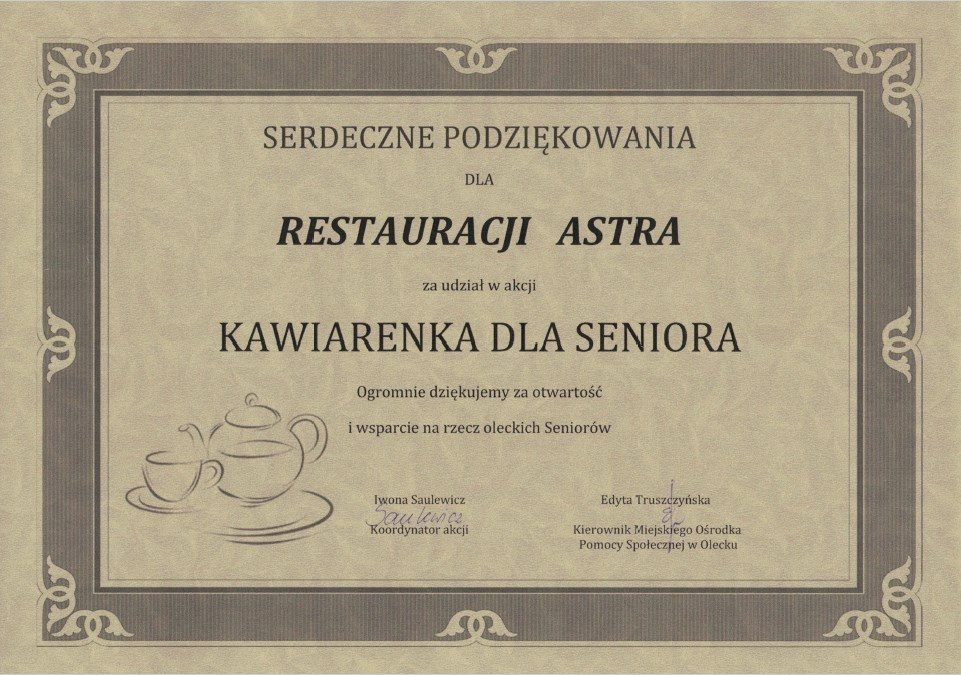 Podziękowanie dla Restauracji Astra