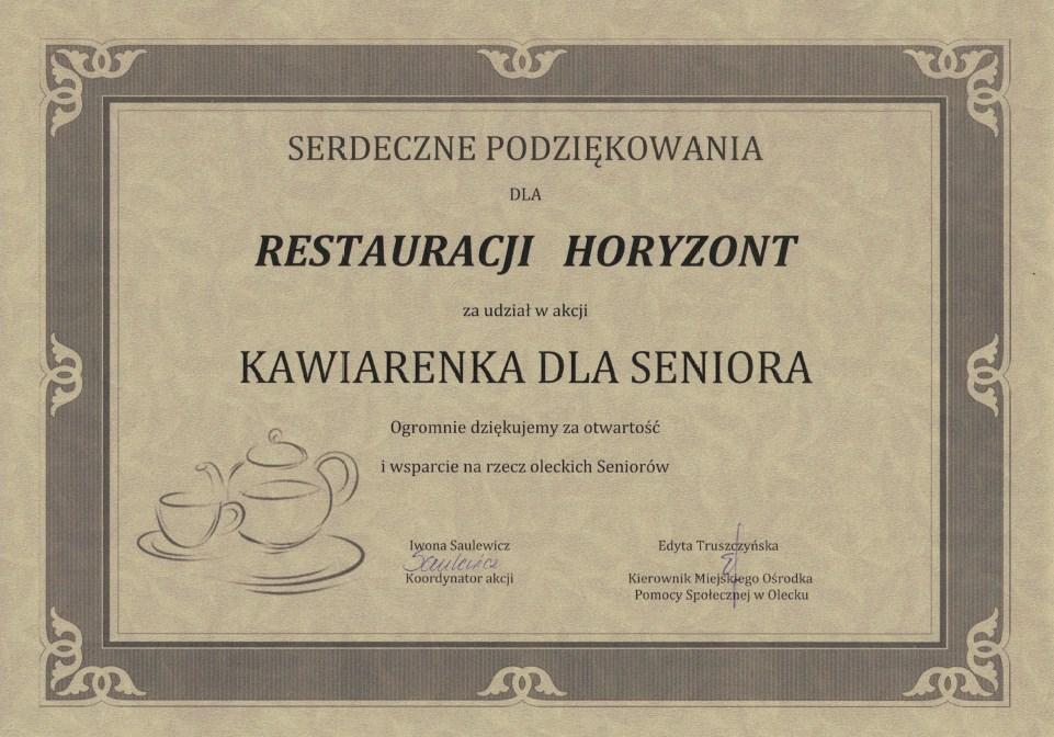 Podziękowanie dla Restauracji Horyzont