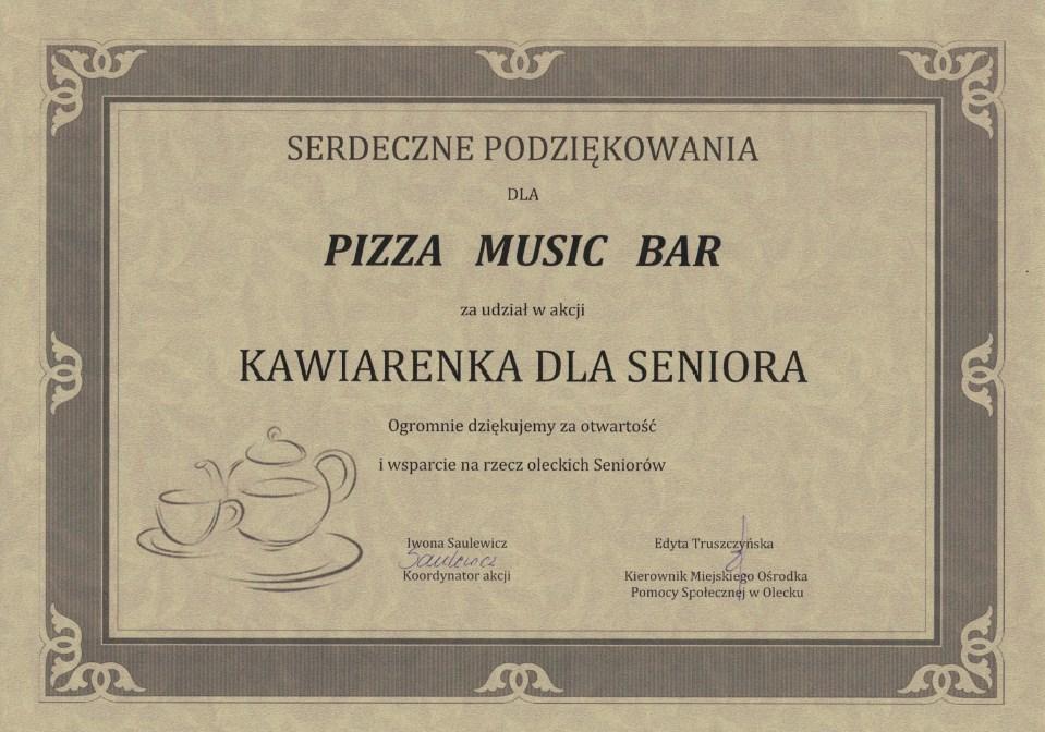 Podziękowanie dla Pizza Music Bar